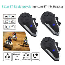 3Pcs BT-S3 Motorcycle Helmet BT Intercom Headset FM Radio Phone Music +Earphones