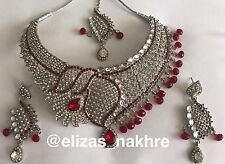 Bollywood Style Red and Silver necklace set Jewellery