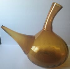 ~ Vintage Giant Huge Large Demijohn Amber Blown Glass Wine Bottle Pourer Bar