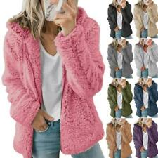 Mujeres Esponjoso Peluche Osito Abrigo Con Capucha Informal De Piel Sintética Con Capucha Chaqueta Abrigo