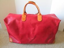 """BRIC'S Red Crocodile Embossed Leather 22"""" Carry On Duffle With Key"""