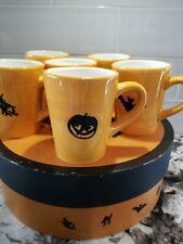 Lot of 6 Williams Sonoma Halloween Orange Black Mug Set in Box Witch Cat Ghost