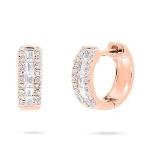 Baguette Diamond Huggies Earrings 14K Rose Gold Mini Hoops 0.29CT Channel Set