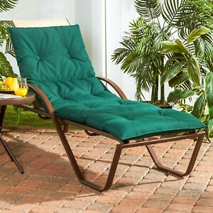 Chaise Lounge Chair Cushion Pad 72 Button Tufted Outdoor Patio Deck Pillow Green