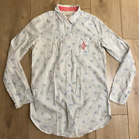 Abercrombie & Fitch Women's Shirt White Camera Long Sleeve Small 100% Cotton