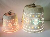 2 Lawnware Hanging Light Lamps Mid Century 1970s Jeweled Home Deck Rv Camper