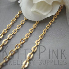 10 Metres Gold Plated Jewellery Chain Cable Flat 3 x 2.5mm NICKEL FREE WHOLESALE