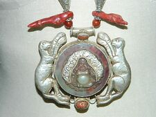 Vintage Tibetan Silver Red Coral Carnelian Jade Buddha Animal Pendant Necklace