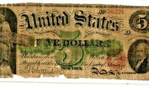 "$5 1862 ""LEGAL TENDER"" (UNITED STATES NOTE) $5 1862 ""LEGAL TENDER"" ROUGH RARE!!!"