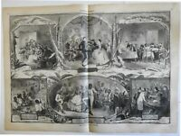 home domestic scenes Black Americans Breakdown dance 1861 Harper's print