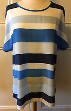 ESPRIT Blue White Grey Thick Stripe Nautica Solid Back Cap Sleeve  Blouse Top XL