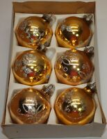 "Vintage Glass Ornaments Set of 6 Balls 2.5"" GOLD w/ Silver Glitter Stencil"
