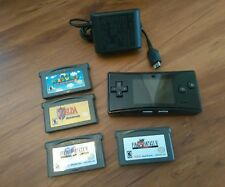 GameBoy Micro console black with black+ Charger + Zelda Mario world Ff V/Vi