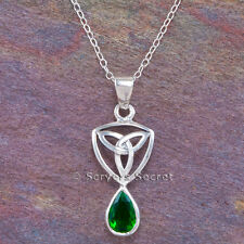 925 Sterling Silver CELTIC TRIQUETRA Irish Trinity Knot Green Pendant Necklace