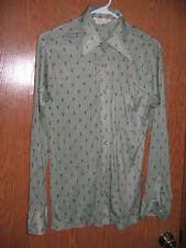 Vintage Polyester Shirt  David Homsan Medium Button Front  Mist Green FREE SHIP