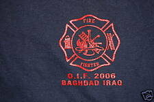"""FIREFIGHTER T-SHIRT/ """"FIND UM HOT LEAVE UM WET"""" Iraq"""