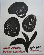 Grieshaber Neue Holzschnittfolgen Orig Plakat Holzschnitt Galerie Valentien 1964