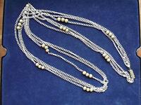 Modeschmuck Halskette Perlen 3 reihig Klickverschluß silber farben
