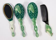 Hand Painted Art Hair Brush Mirror Comb Green Frog Lotus Leaf (Set of 3) CB23F