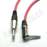 "2m 90deg to Straight Jack Guitar Lead Red Cable Mono 1/4"" 6.35mm Right Angle"