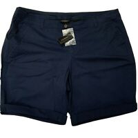 Lane Bryant Cuffed Bermuda Walking Shorts Navy Blue New with Tags $39.95 Size 20
