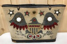 Vintage ENID COLLINS Bag AMERICANA Purse Tote Jeweled Signed Repair