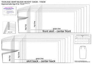 TEEN AGE SKIRT PATTERN BLOCKS AGE 9 TO 15- SLOPER -HEIGHT 134cm-170cm - DESIGNER