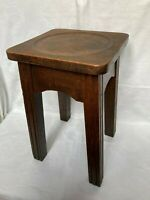 Vintage Antique Heavy Oak Stool Plant Wash Stand with Circular Recess