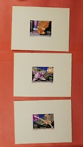 3 DELUXE SHEET PROOFS 1966 CENTRAL AFRICAN REPUBLIC SPACE #C36-38 MNH