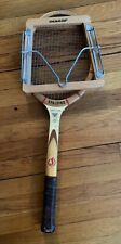 Vintage Wood Tennis Raquet and cover Spalding Davis Cup fibre welded throat