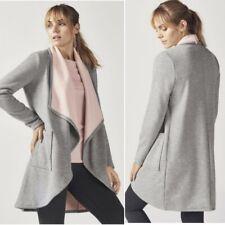 Fabletics Moscow Fleece Lined Coat Open Draped Pocket Heather Grey Pink Medium