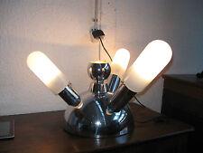 SUPERBE LAMPE DESIGN ANNÉES 70/MÉTAL CHROME ET VERRE/4 LAMPES/TUBES DE VERRE