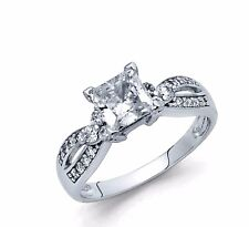 Real 14K solid White gold Princess Brilliant cut Engagement Ring