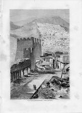 Stampa antica DERBENT panorama Dagestan Russia 1861 Old print античный печать