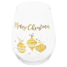 Christmas Stemless Wine Glass with Gold Detail