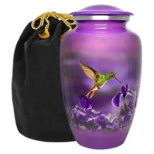 Natures Peace Hummingbird Adult Large Urn for Human Ashes - with Velvet Bag