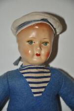 Babyrassel Matrose ANTIK Puppe Seemann Matrosenpuppe Baby Rassel antique rattle