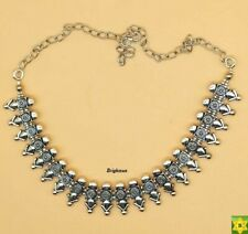 ASIAN Silver Oxidised Ethnic Tribal Costume NECKLACE CHOKER JEWELLERY