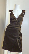 ** GUESS by MARCIANO ** Sexy Little Black Stretch Satin Crossover Wrap Dress 0
