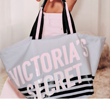 Victoria's Secret LE Zip Top Weekender Tote Bag Getaway Bag grey white