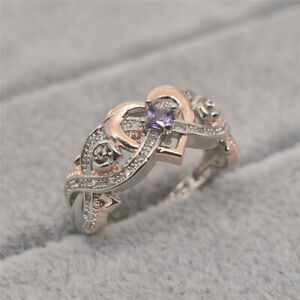 New Rose Princess Amethyst Ring Love Shape Rose Gold Double Color Jewellery 5-11