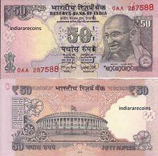 India 2016 Rare 0Aa Prefix 50 Rs L Inset Sign Urjit Patel Bank Note Unc New