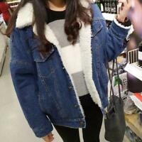 Women Winter Fur Lined Peacoat Short Denim Coat Thicken Fleece Jean LOOSE Jacket