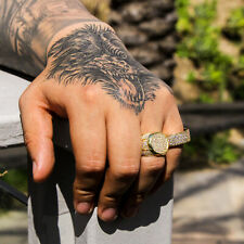 Men's 14K Gold Plated Hip Hop Round Flat Micro Pave CZ Ring Size 7 8 9 10 11 12