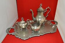 New listing Vintage English Silver Mfg. Corp. Silver Plated Coffee & Tea 4 Piece Set w/Tray