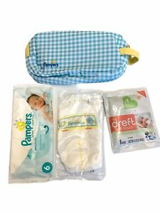 Pampers Travel Baby Diaper Wipes Zippered Bag Pouch Seafoam Green Gingham NEW
