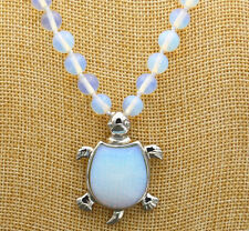 Beautiful 8mm Moonstone & Opal Turtle Pendant Necklace 18 ""