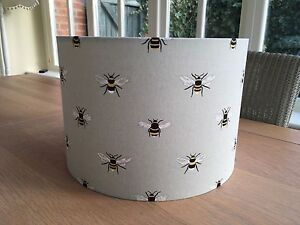 Handmade Drum Lampshade with Sophie Allport NEW Bumble Bee Fabric, Pale Green