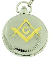 Boxx Gents Masonic Freemasonry Two Tone Jumbo Size Pocket Watch on 12 Inch Chain