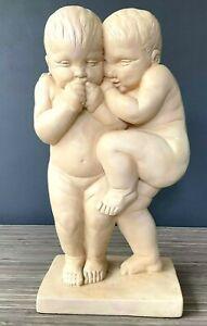 Wallach SONS by ALVA Museum NY Replica Twin Boys Little Secrets Sculpture 1990